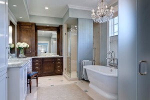 Adorable-Traditional-Bathroom-Design-with-Shiny-Glass-Chandelier-and-Several-Dark-Brown-Colored-Cabinets-which-are-Made-from-Wooden-Material